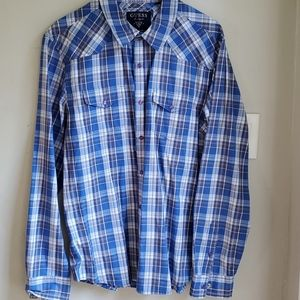 Guess pearl snap button down plaid shirt Large